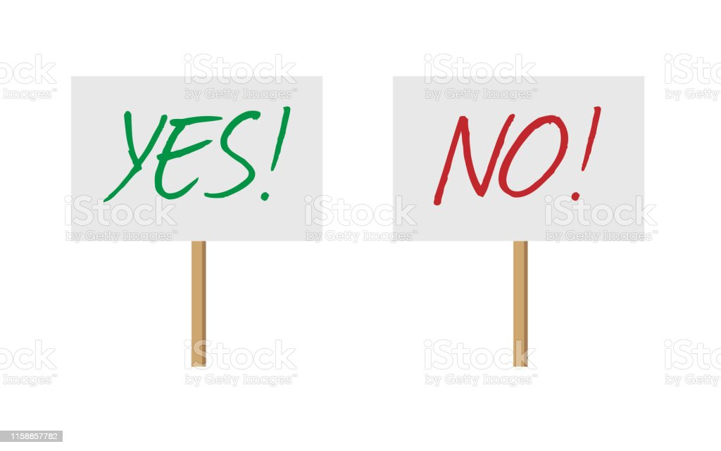 Yes and No sign banners on wood stick collection. Vector protest...