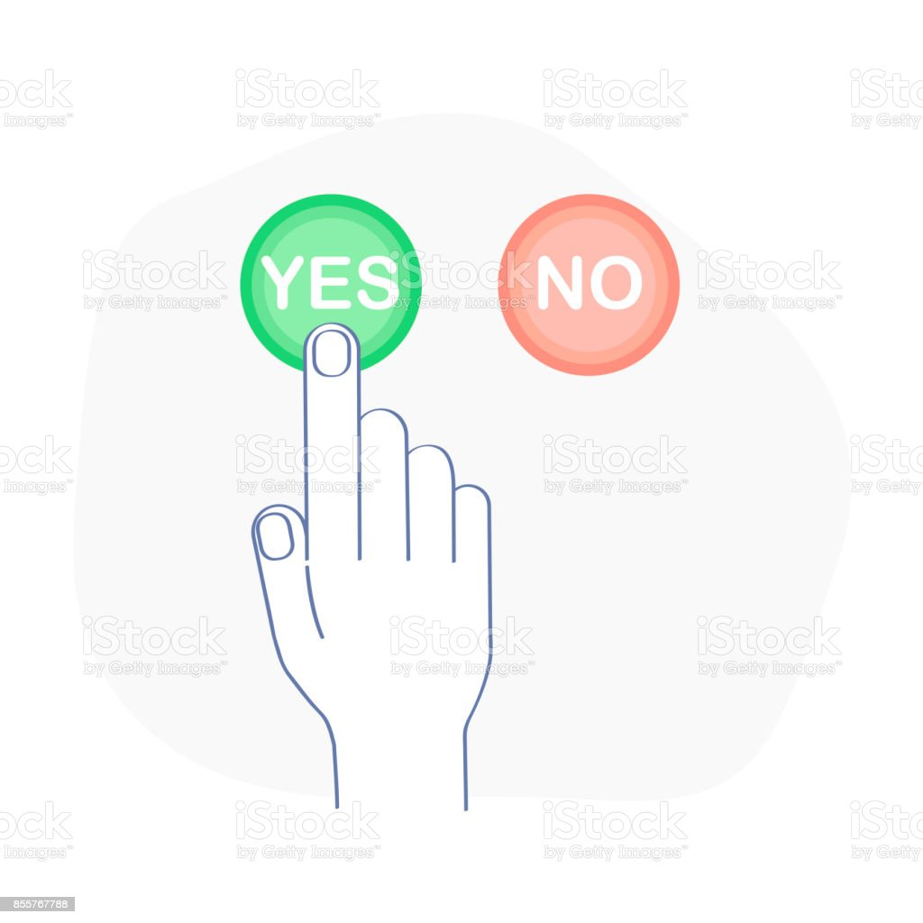 Yes and No Vote Vector Banner - Voting Buttons Icon Set vector art illustration