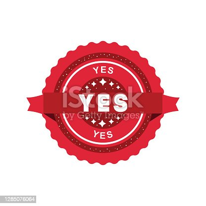 istock Yes Grunge Stamp With Red Band 1285076064