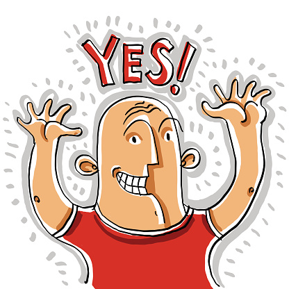 Yes. Illustration of happy smiling person rising his hands up.