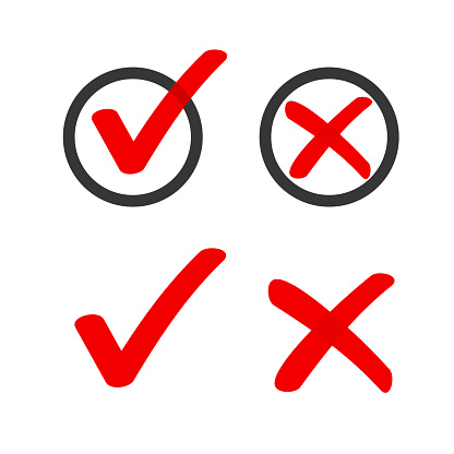 Yes no check box list marker ticks icons vector circle doodle red, x close handdrawn cross, ok poll vote checkmark, right wrong drawing, approved and declined decision form accept or deny element sign