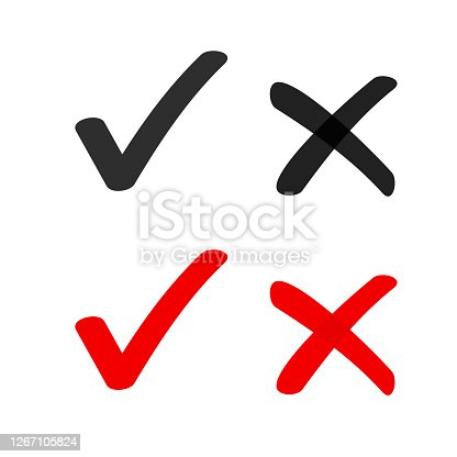 istock Yes no check box list marker ticks icons vector isolated, x close handdrawn cross, ok doodle poll vote checkmark, right wrong drawing, approved and declined decision form accept or deny element sign 1267105824