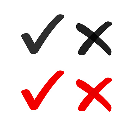 Yes no check box list marker ticks icons vector isolated, x close handdrawn cross, ok doodle poll vote checkmark, right wrong drawing, approved and declined decision form accept or deny element sign