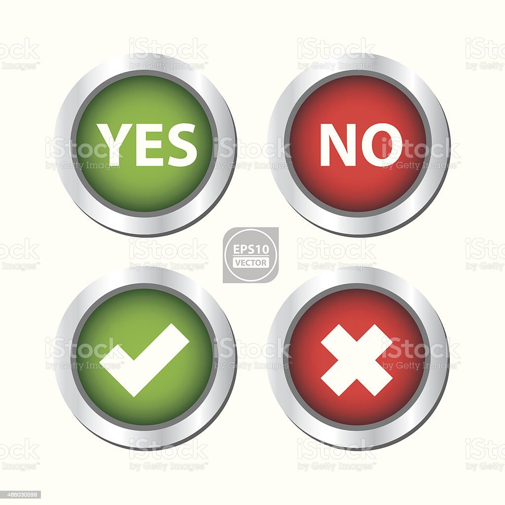 Yes, No, Check Mark and Cross Button. vector art illustration