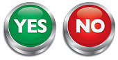 Vector illustration of shiny yes and no push buttons.