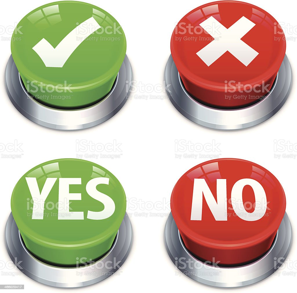 Yes No Push Buttons vector art illustration