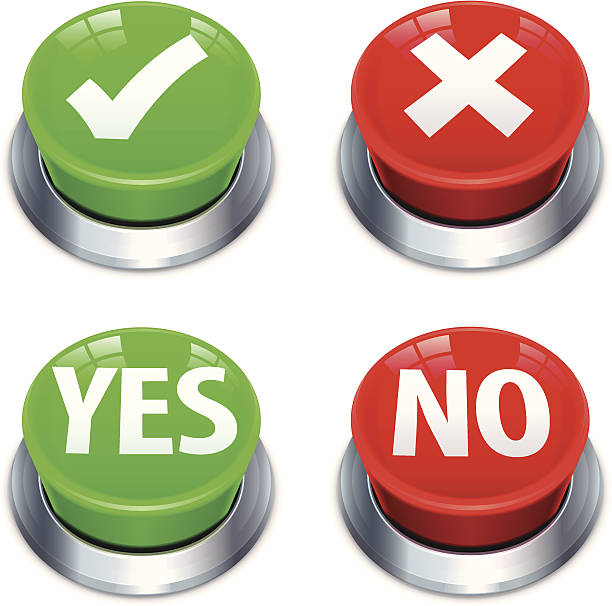 Yes No Push Buttons Yes, no, tick, cross push button illustration. Layered and grouped. Download includes EPS 10 and hi-res jpeg files. knob stock illustrations