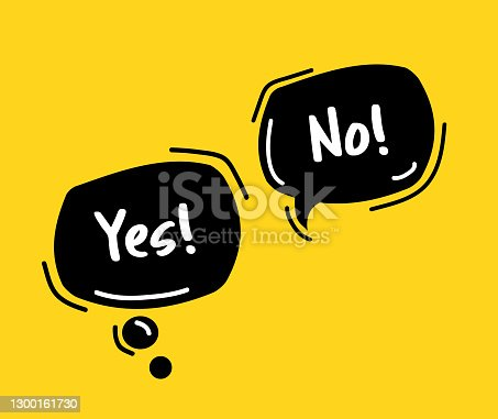 istock Yes or no! Bubble talk phrases. Hand drawn doodle speech bubbles. 1300161730