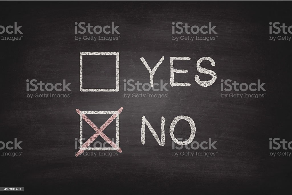 Yes or No Checkboxes on Blackboard - Chalkboard royalty-free yes or no checkboxes on blackboard chalkboard stock vector art & more images of asking