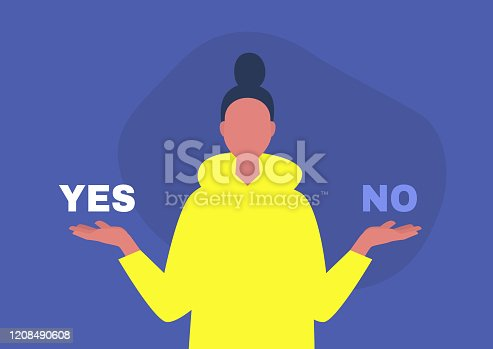 Yes or no, young female character answering a question, digital template, alternatives