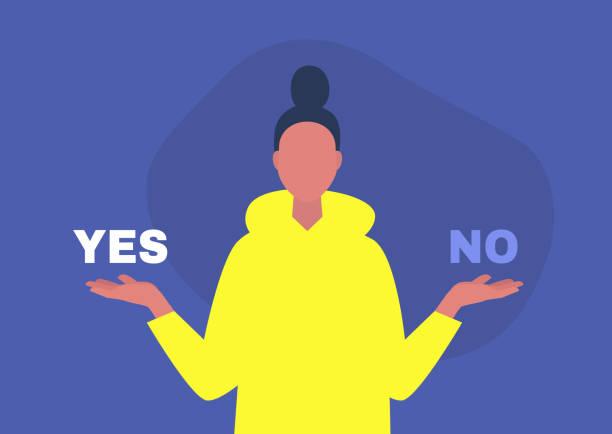 ilustrações, clipart, desenhos animados e ícones de sim ou não, personagem jovem respondendo a uma pergunta, modelo digital, alternativas - em êxtase