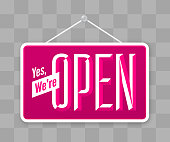 istock Yes, We're Open Hanging Business Sign 1267637375