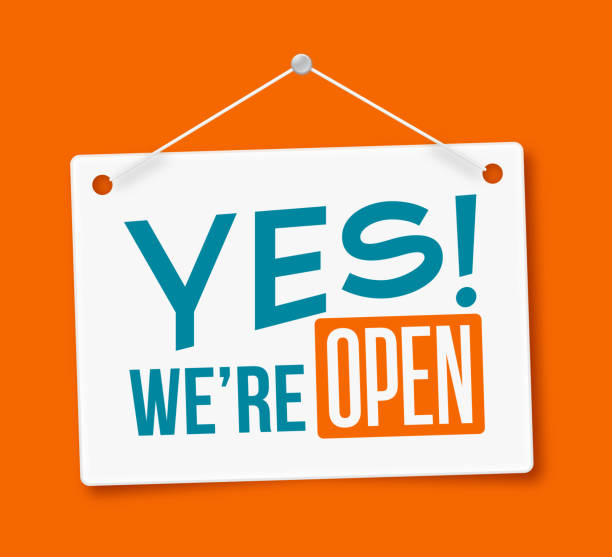 Yes, We're Open! Sign Yes! We're Open business open hours hanging sign isolated on white. excited stock illustrations