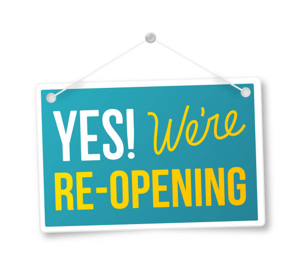 Yes We're Re-Opening Sign Yes! We're Re-Opening Sign. excited stock illustrations