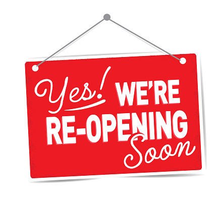 Yes we're re-opening Soon sign design for businesses on red sign on white background