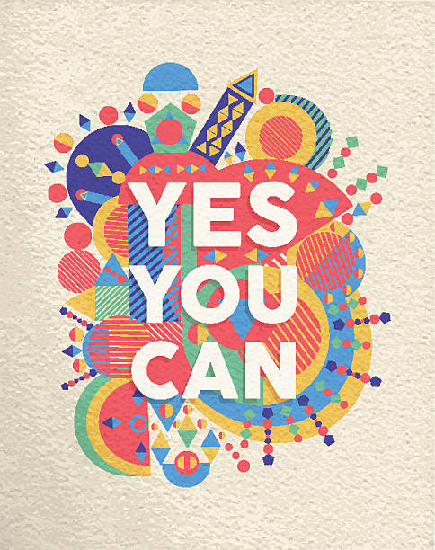 Yes you can quote poster design Yes you can colorful typographical Poster. Inspirational motivation quote design background.  EPS10 vector file with transparency layers. motivation stock illustrations