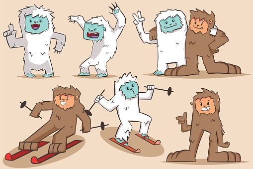 Yeti and Bigfoot vector cartoon character. Monsters set isolated on background.