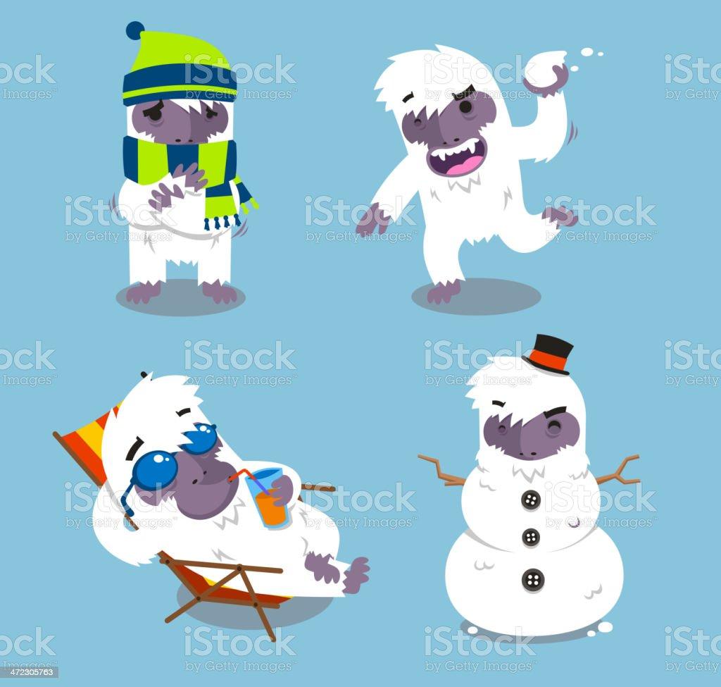 Yeti kalten Winter Set – Vektorgrafik