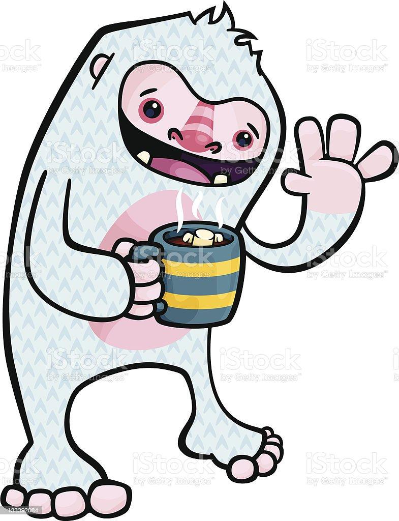 Yeti Drinking Cocoa vector art illustration