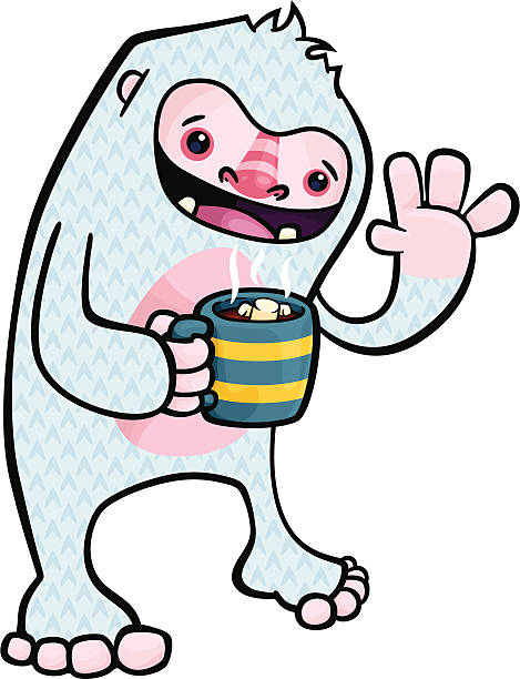 Yeti Drinking Cocoa vector art illustration