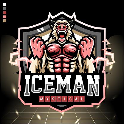 Yeti head mascot. esport logo design