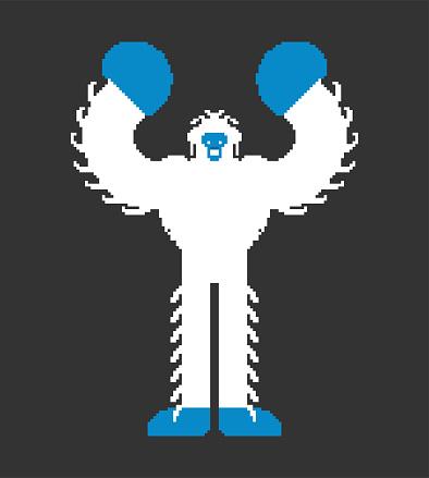 Yeti Pixel Art Bigfoot Pixelated Abominable Snowman Old Game Graphics 8 Bit Big Foot Stock Illustration Download Image Now