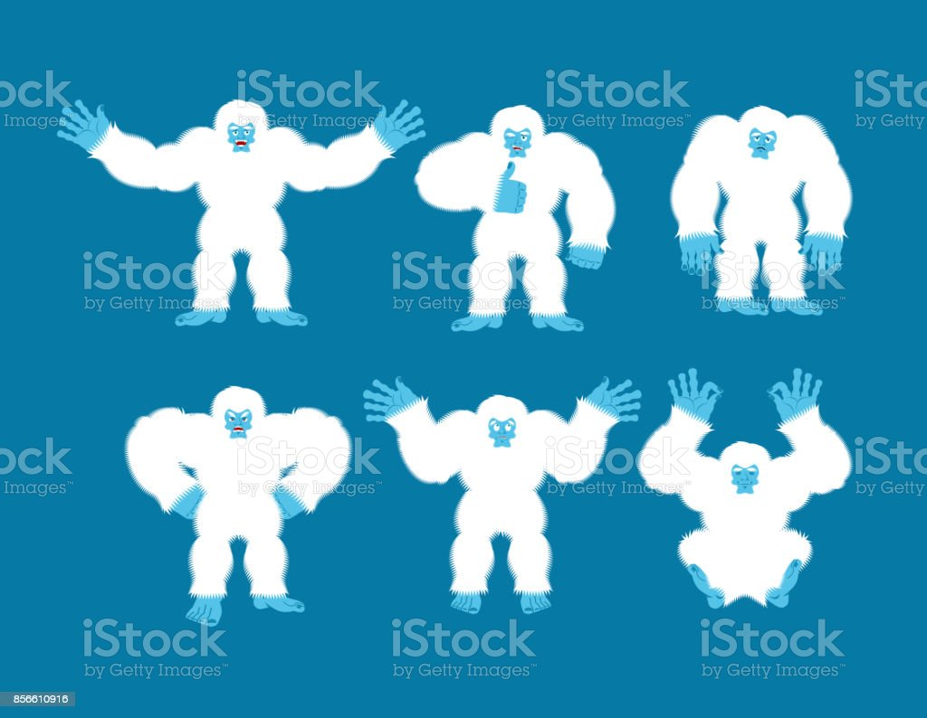 Yeti set poses and motion. Bigfoot happy and yoga. Abominable snowman  sleeping and angry. Monster guilty and sad. Vector illustration -  Illustration . 5ccfe6c33e17