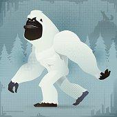 vector illustration of bigfoot yeti and gazing…
