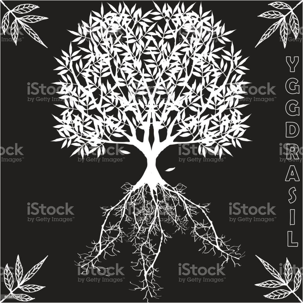 Yggdrasil: árbol del mundo de la mitología escandinava del vector. - ilustración de arte vectorial
