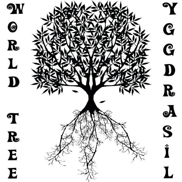 Vector árbol del mundo de la mitología escandinava de Yggdrasil - ilustración de arte vectorial