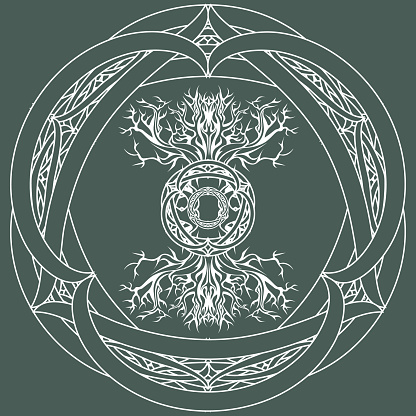 yggdrasil, viking tree of life, in tribal celtic frame on green background