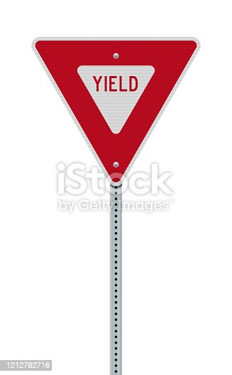 Vector illustration of the Yield downward-pointing triangle road sign