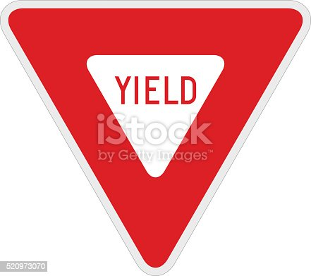 Vector illustration of a yield road/traffic sign. Illustration uses no gradients, meshes or blends, only solid color. Both .ai and AI8-compatible .eps formats are included, along with a high-res .jpg, and a high-res .png with transparent background.