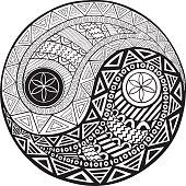 Yin and yang decorative hand drawn symbol