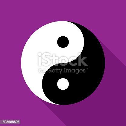 Vector illustration of a yin and yang symbol on a purple background in flat style.