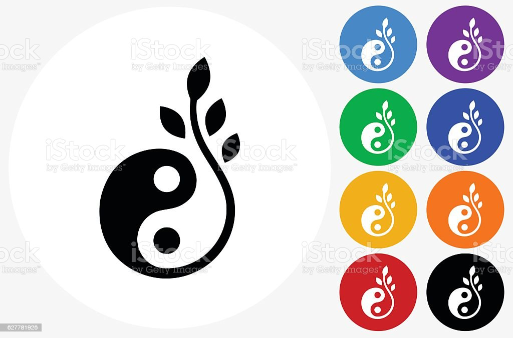 Yin and Yang Icon on Flat Color Circle Buttons vector art illustration