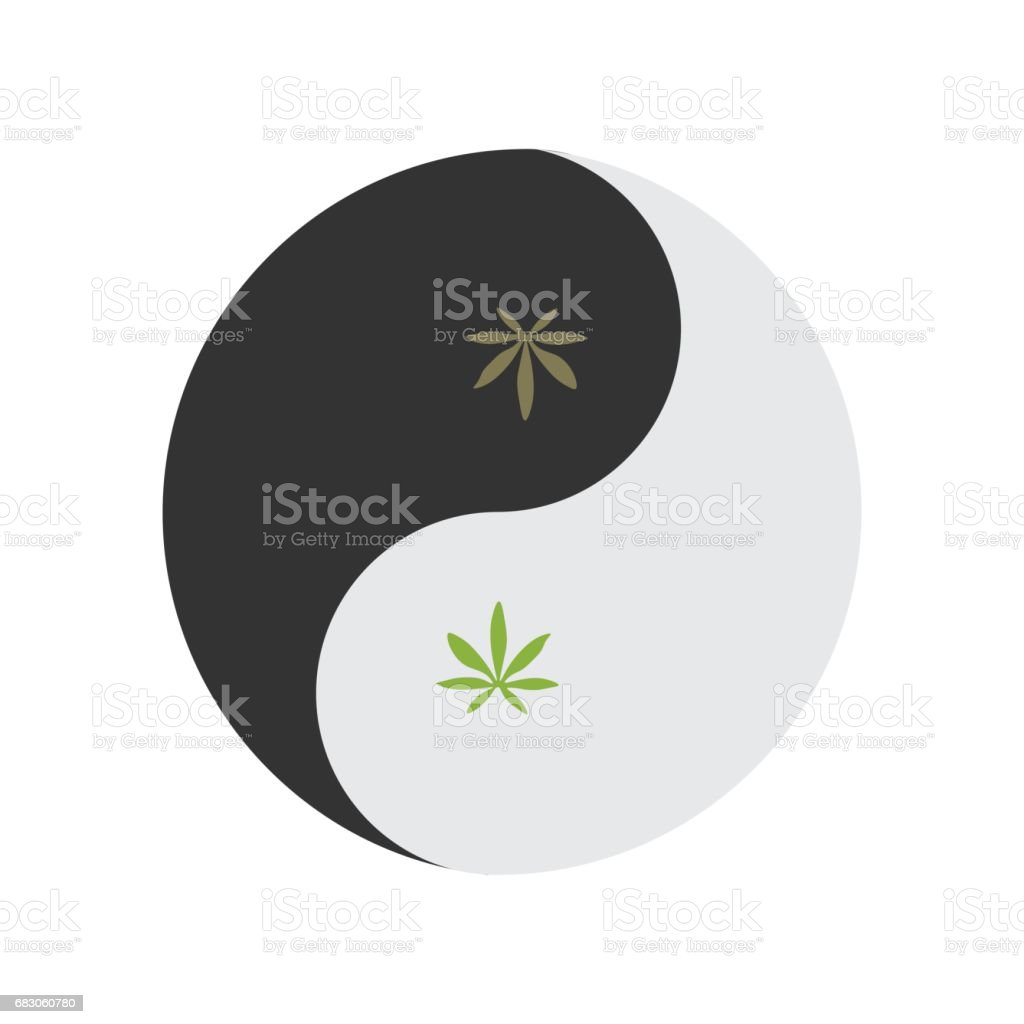Yin and yang symbol also known as taijitu as a symbol of harmony yin and yang symbol also known as taijitu as a symbol of harmony with weed leaf biocorpaavc Choice Image