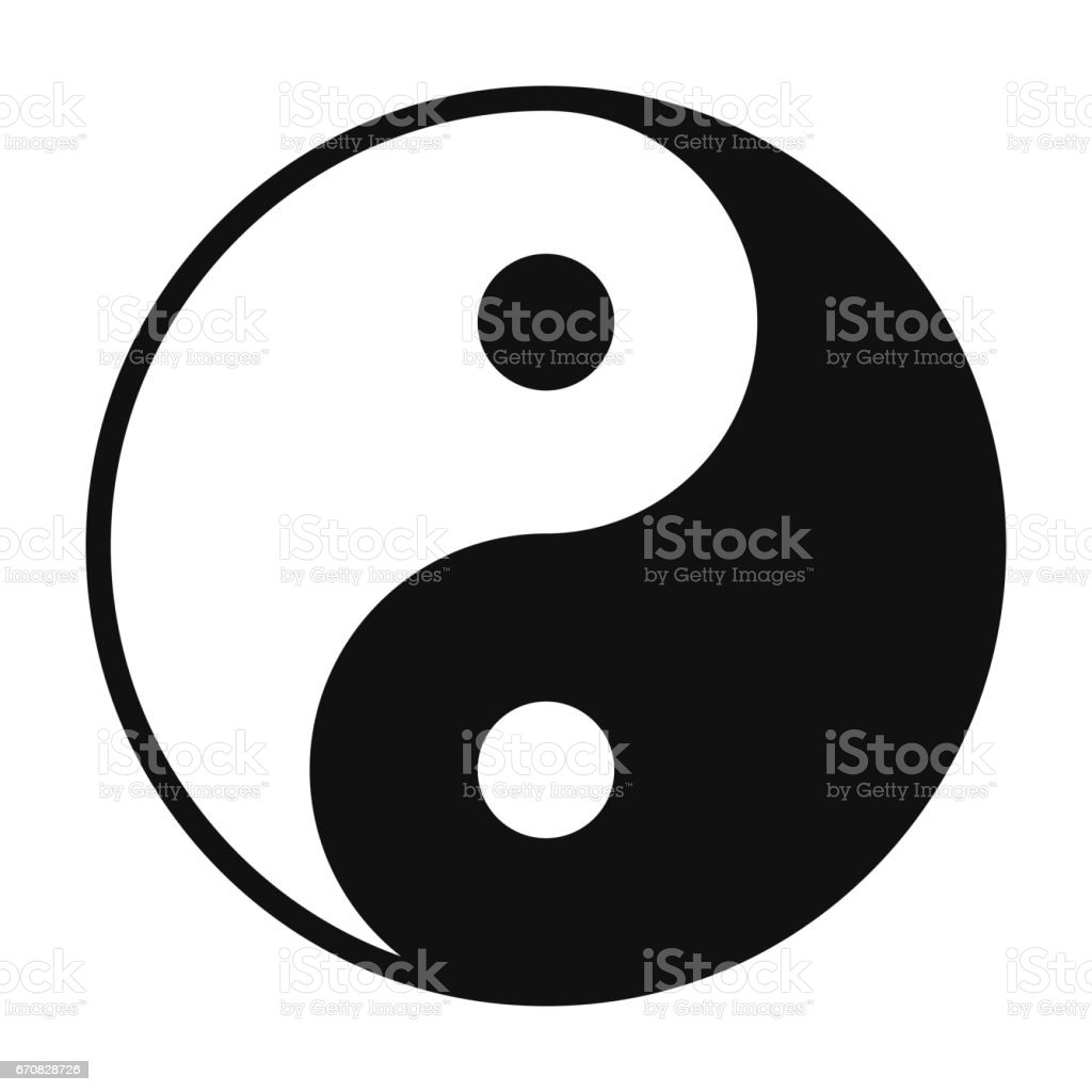 Yin and Yang symbol isolated on white background vector art illustration