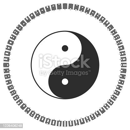 Vector Yin and Yang symbol with Diagram of I Ching hexagrams