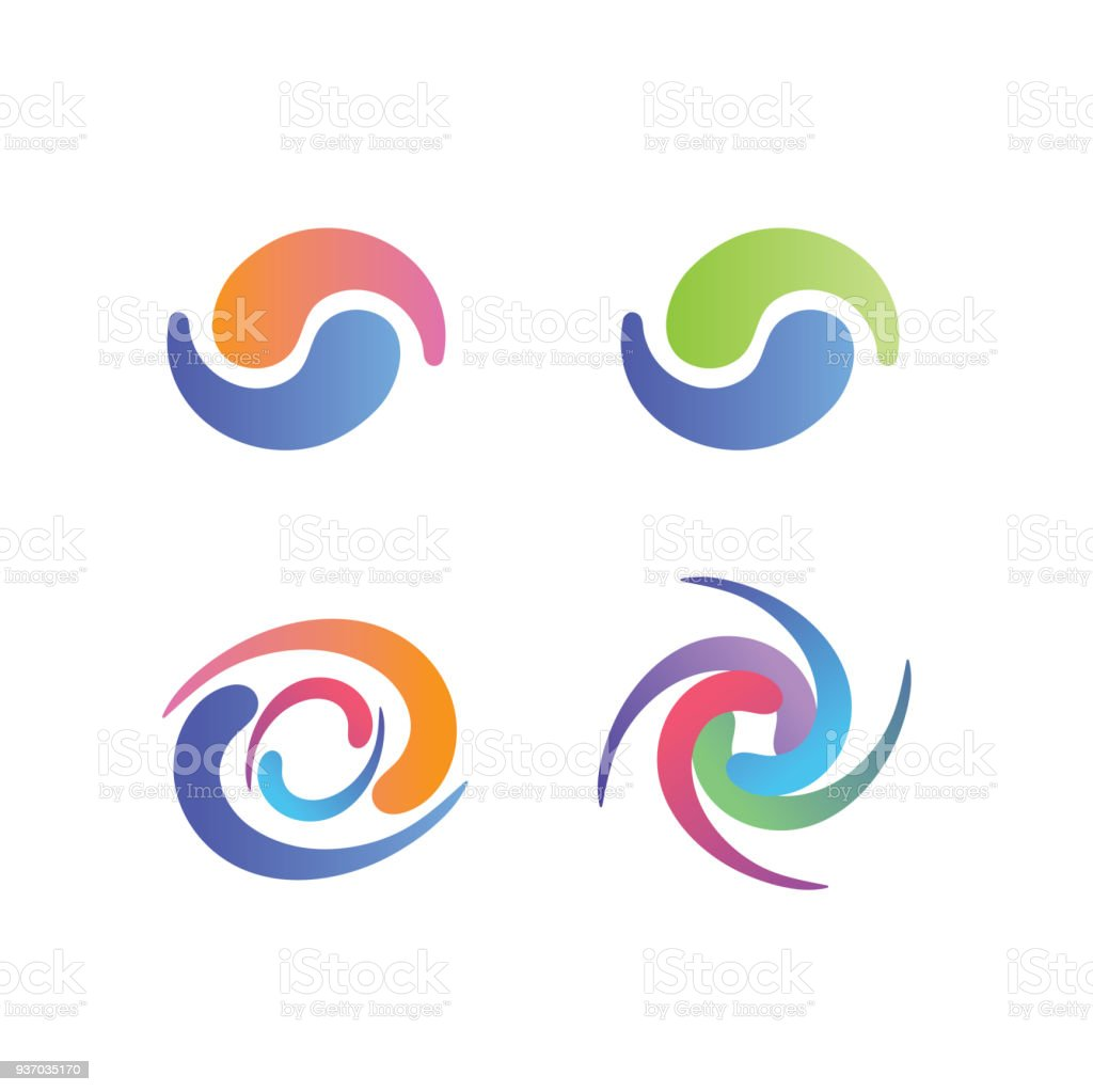 Yin and Yang Symbols, with swirly decorative graphics - pastel colors vector art illustration