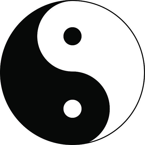 Yin and Yang. Vector Icon. Yin and Yang. Black and white. Female and Male. Vector Icon eps10. yin yang symbol stock illustrations