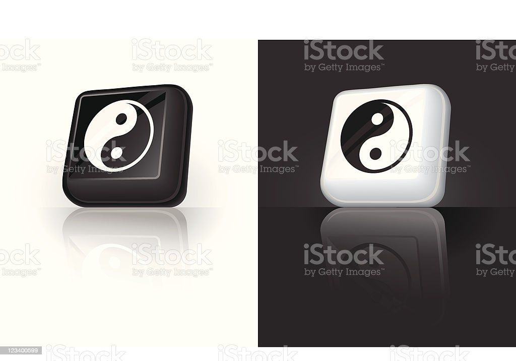 yin yang 3D button design royalty-free stock vector art