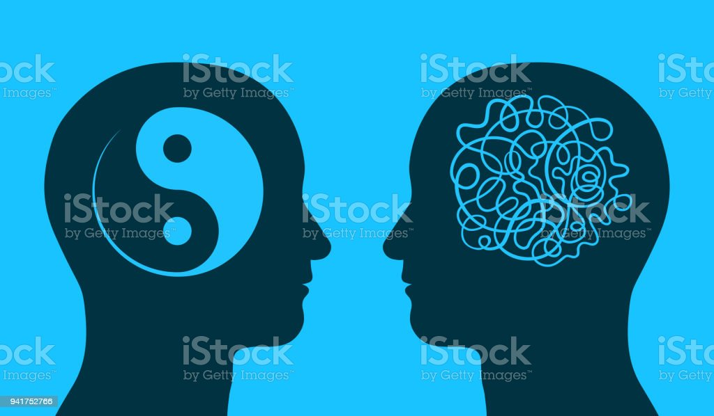 Yin yang and chaos symbol in thinking heads