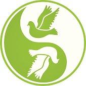 Two pigeons inside Yin Yang symbol.