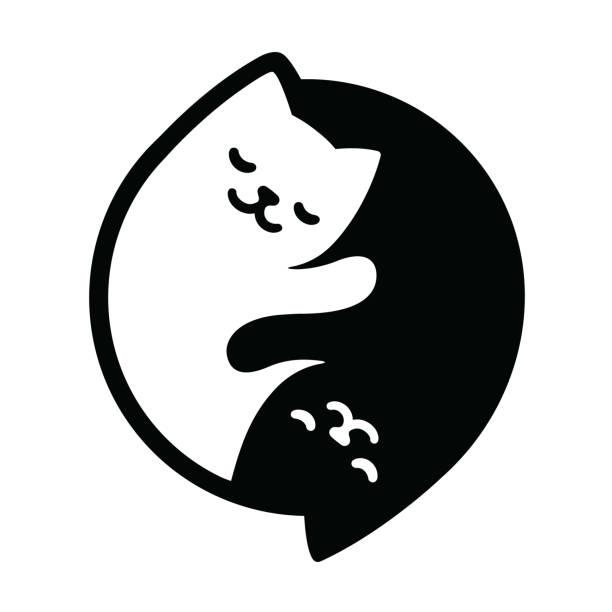 Yin Yang Cats Yin Yang Cats. Simple and cute black and white cats in yinyang shape. Vector illustration. yin yang symbol stock illustrations