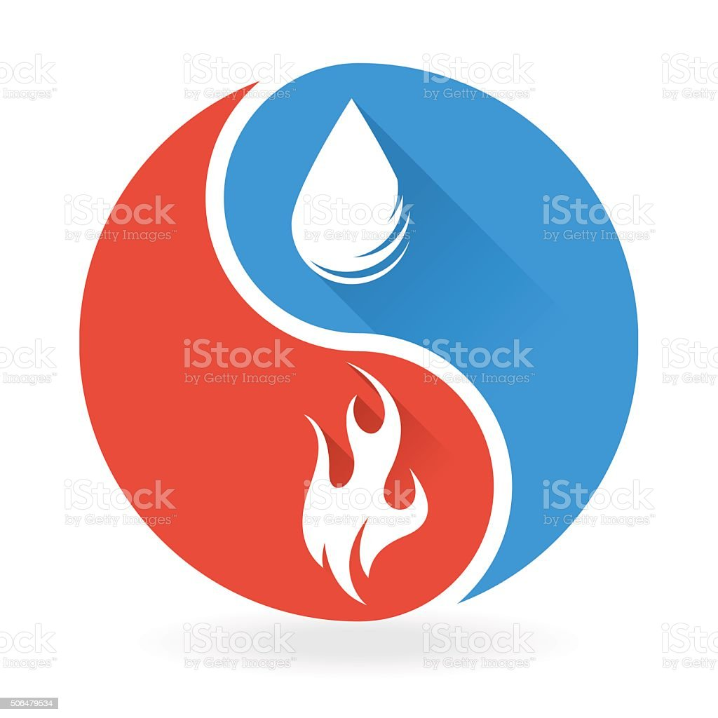 yin yang concept water and fire icon stock vector art more images rh istockphoto com Cool Yin Yang Yin Yang Border