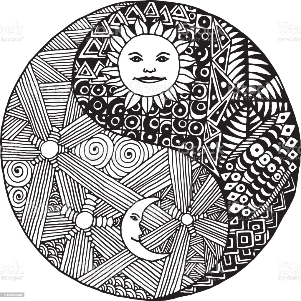 yin yang doodle stock vector 518680058 istock