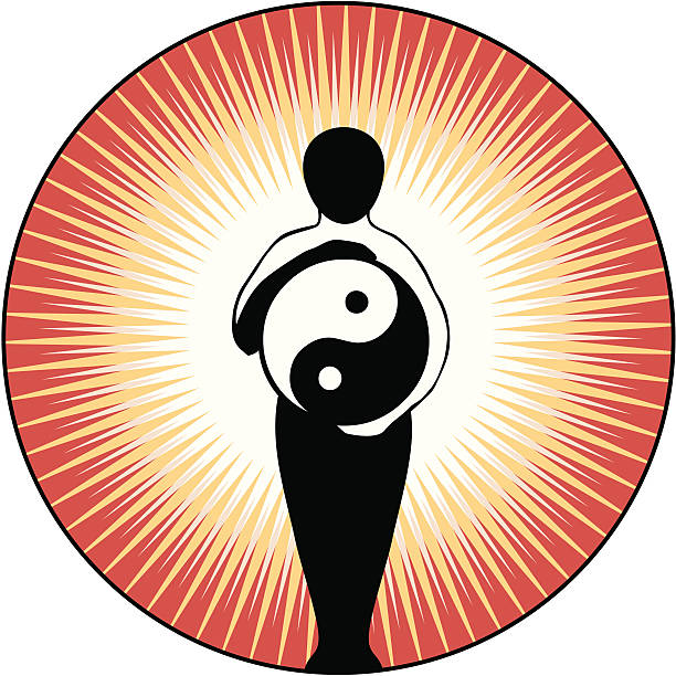 Yin Yang Figure Yin Yang Figure with red and gold sunburst. Abstract eastern figure shown holding a yin yang symbol in arms which are held in a circular position.  The Yin Yang symbol has taken the place of the invisible rolling ball in one movement of the Tai Chi exercise Wave Hands Like Clouds.  qigong stock illustrations