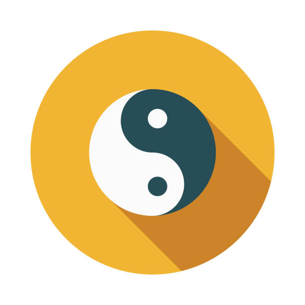 Yin Yang Flat Design India Icon with Side Shadow A colored flat design India icon with a long side shadow. Color swatches are global so it's easy to edit and change the colors. yin yang symbol stock illustrations