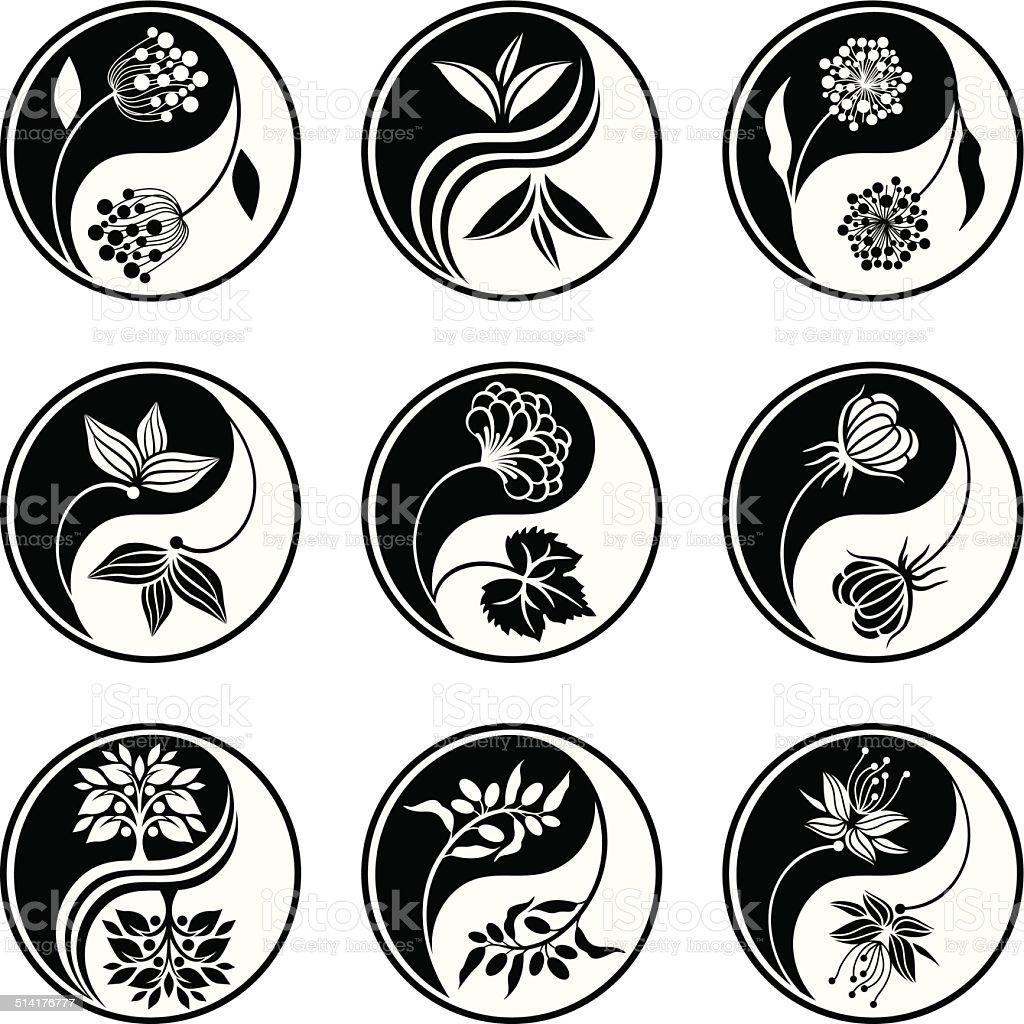 Yin Yang florals vector art illustration